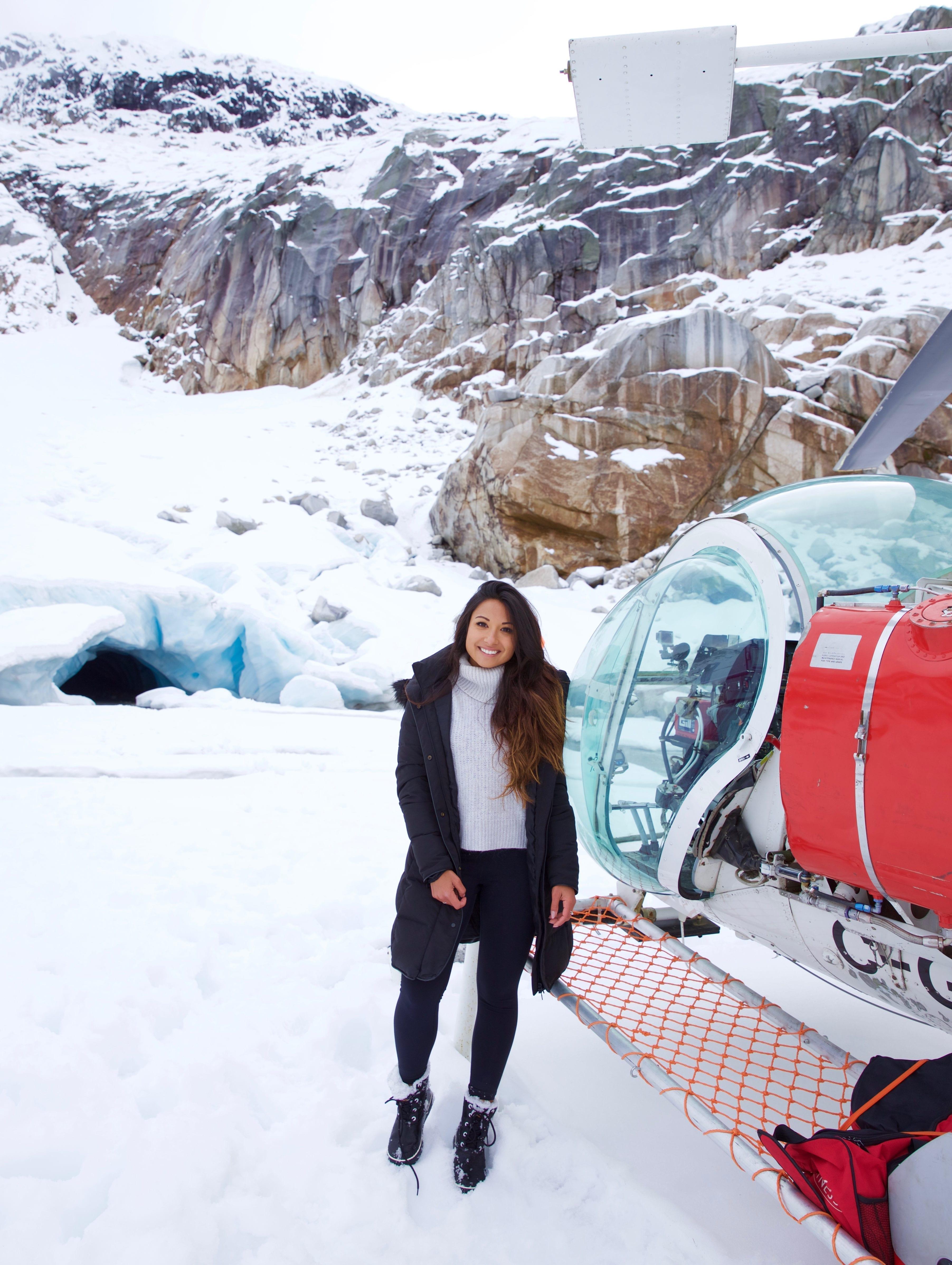 Heli Ice Cave Exploring